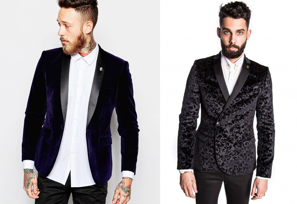 ASOS - Skinny Blazer in Velvet, £80 & Noose and Monkey - Carroway Velvet Skinny Jacket, £140