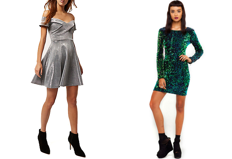 River Island - Silver Metallic Bardot Dress, £42 & Motel Rocks - Sequin Dress, £48