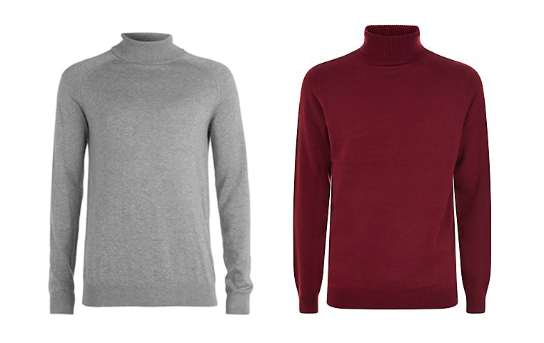 Topman - Homme Grey Roll Neck, £45 & New Look - Roll Neck Jumper £14.99
