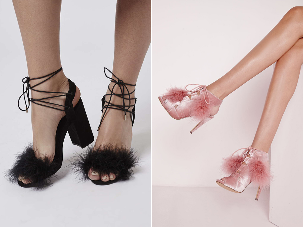 Topshop - Ruffle Feather Tie Sandal, £52 & Missguided - Pom Pom Lace Up Heels, £35