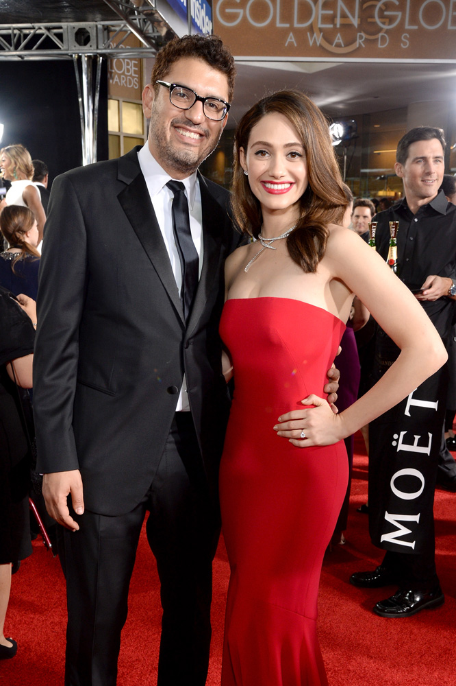 BEVERLY HILLS, CA - JANUARY 10: Writer Sam Esmail (L) and actress Emmy Rossum attend the 73rd Annual Golden Globe Awards held at the Beverly Hilton Hotel on January 10, 2016 in Beverly Hills, California. (Photo by Michael Kovac/Getty Images for Moet & Chandon)